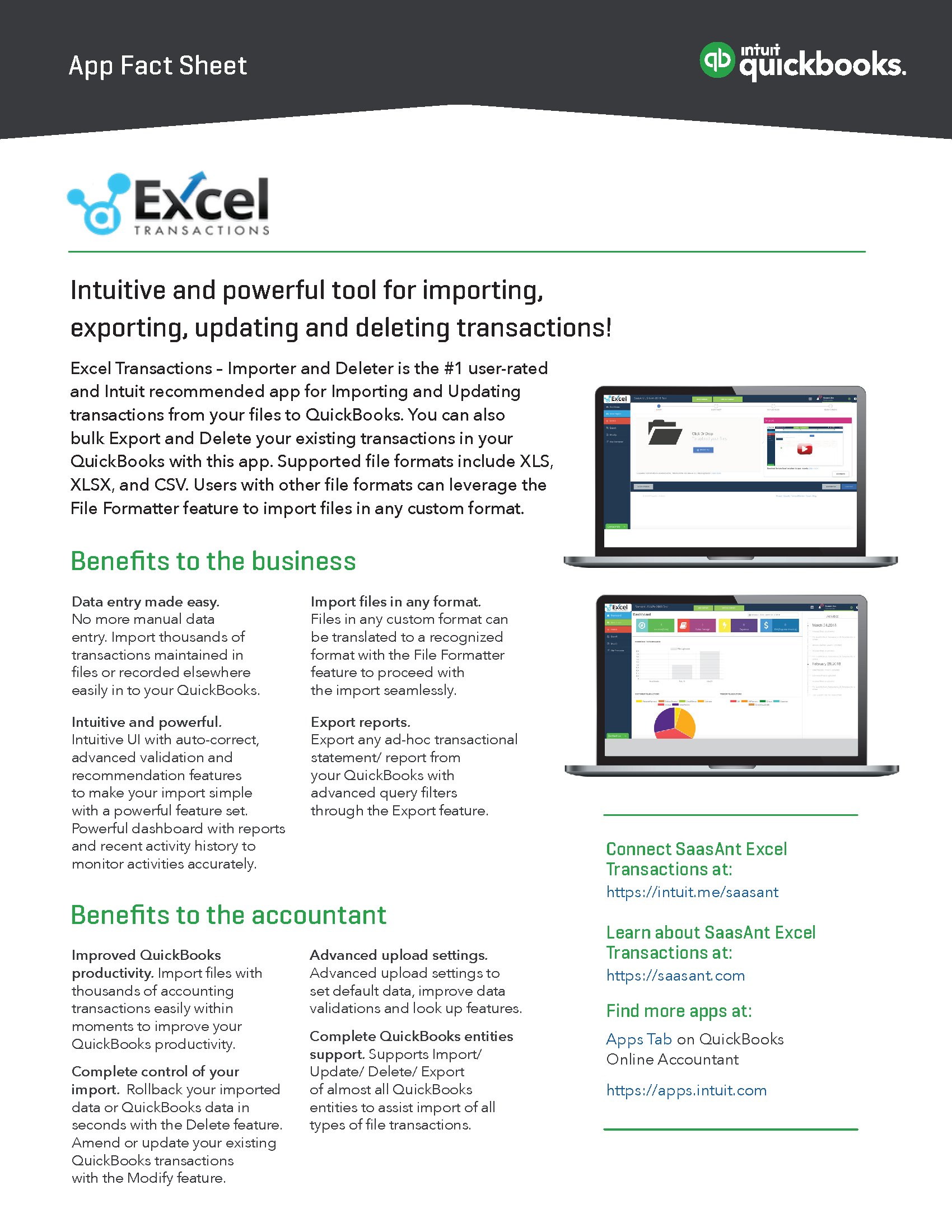 app fact sheet SaasAnt Excel Transactions