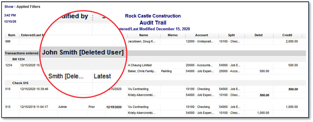 Deleted users association with transactions are retained in audit trail report.