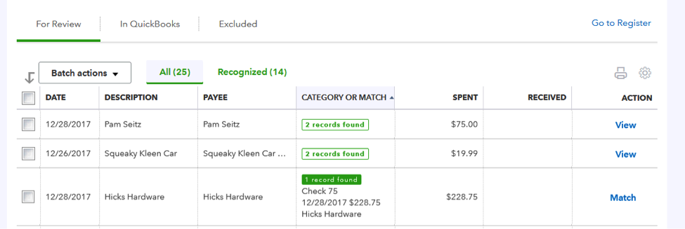 Tips for Working in QuickBooks Online's Bank Feed: Matching