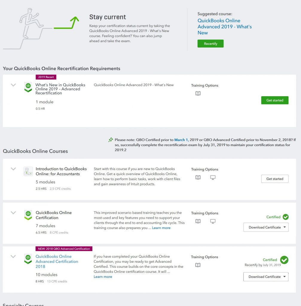 Simplified Re-certification Path for QuickBooks Online (Core