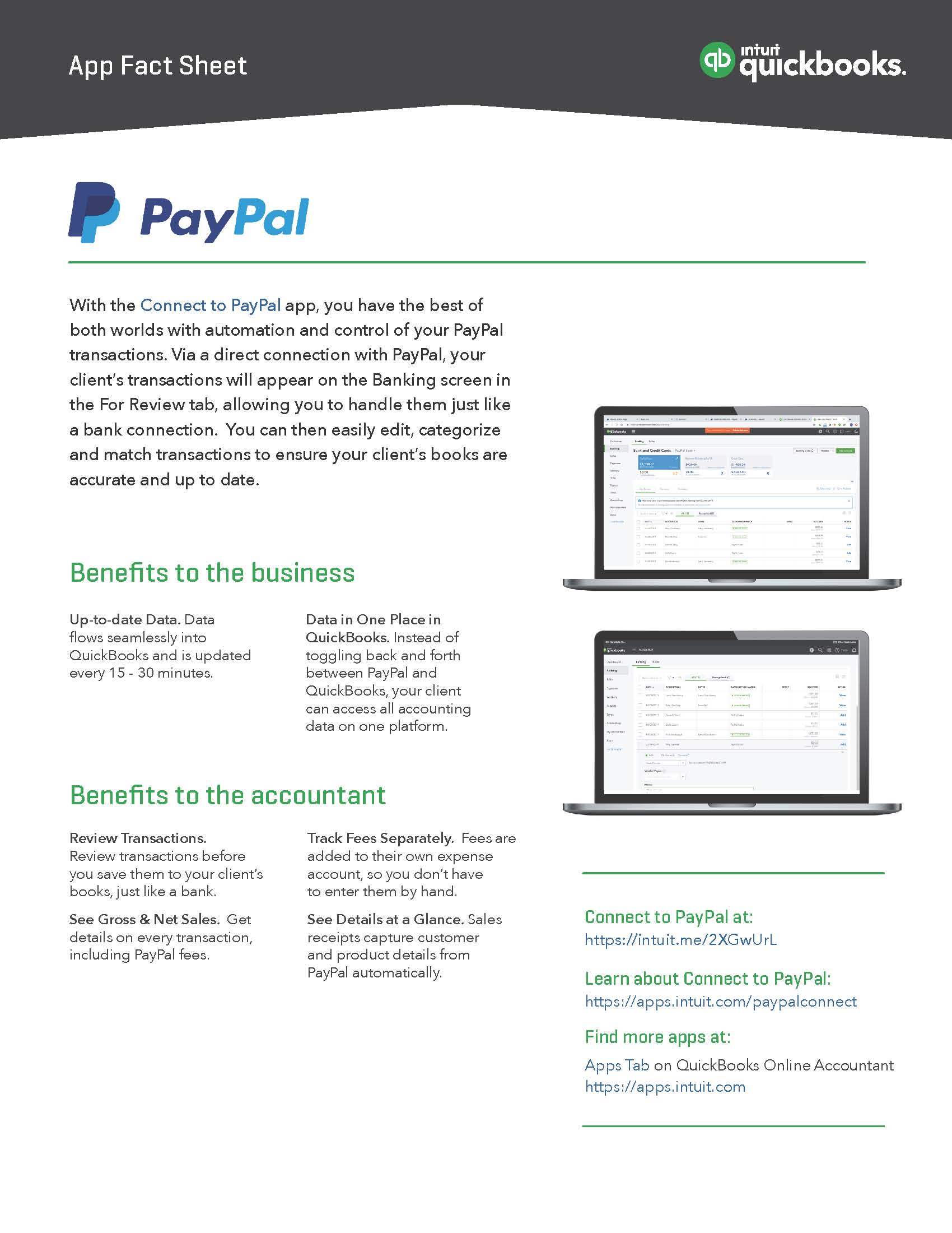 App Fact Sheet: Connect to PayPal - Firm of the Future